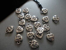 "20 X Amor A Mi Perro ""Corazón De Plata Tibetana Metal charms/pendants"