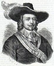 Antique print ,gravure : portrait Maarten Harpertszoon Tromp