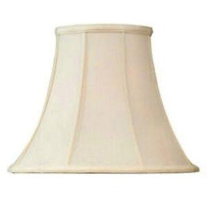 "Beige  Shantung Silk Lampshade 14"" Bell  Fabric Lamp Shade  Brass Spider Fitter"