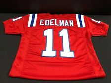 JULIAN EDELMAN NEW ENGLAND PATRIOTS UNSIGNED CUSTOM STITCHED RED JERSEY X-LARGE