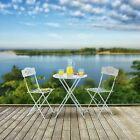 Outdoor Bistro Set Garden Furniture White Chairs Seats Table Painted Metal Set