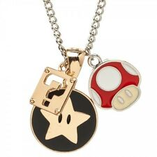 OFFICIAL NINTENDO'S SUPER MARIO BROS CHARM PENDANTS ON CHAIN NECKLACE *NEW*