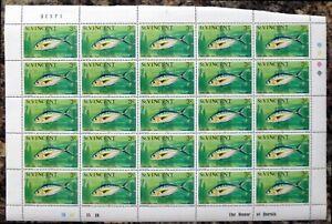 St VINCENT 1975 Fish 3c SG424 Complete Sheet of 25 DK772