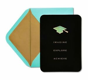 Papyrus Graduation Card - Black Velvet + Gold Embossing Imagine, Explore Achieve