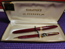 SHEAFFER'S NEW SNORKEL PEN AND PENCIL SET IN ORIGINAL BOX PLUM
