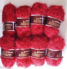 8 Skeins Patons Allure Eyelash Fur Yarn Garnet Red Discontinued