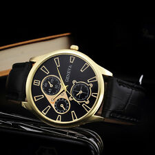 Retro Design Leather Band Analog Quartz Wrist Watch Mens Watches Black Hot Sale