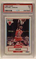 1990 Fleer Michael Jordan #26 Basketball Card Chicago Bulls PSA EX 5/HOF