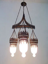 BR135M (3 in 1) Art Deco Frosted White Glass Triple Lampshade Chandelier