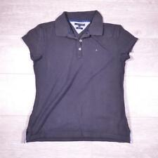 Ladies TOMMY HILFIGER Black Vintage Designer Polo Shirt T-Shirt Large #F2950