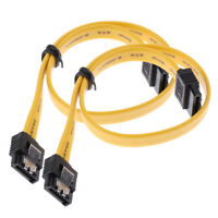 2Pack 180° SATA Cable Serial ATA Data Lead with Locking Latching 11.8''/30cm