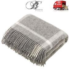 Bronte Natural Windowpane Grey Pure New Shetland Wool Blanket or Throw UK Made