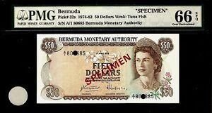 Bermuda 50 Dollars 1978 SPECIMEN PMG 66 EPQ UNC Pick# 32s S/N A/I 08685
