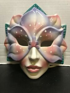 Clay Art Decorative Ceramic Mask Women Flower Pink & Purple Dated 1991 SF-USA