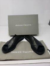 NWB Officine Creative Black Leather Flat Slides Sandals w/ Dust Bag Sz 38/7.5-8