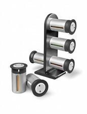 Magnetic Spice Rack Stand Set, Accented Shelf & Self-adhesive Labels for Spices