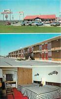 Scottsburg Indiana~Mariann Restaurant~Motel~B&W Checkered Bedspread~1960s Cars