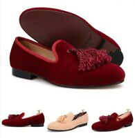 Mens Handmade Tassel Cuban Heel Suede Casual Leisure Slip On Loafers Shoes Vogue
