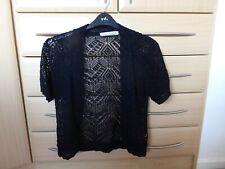 Women's Crochet Knitted Short Sleeve Ladies Shrug Cardigan, Black, Size M/L