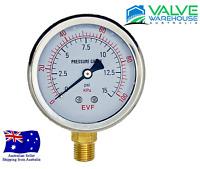 Pressure Gauge - 63mm Liquid Filled SS Dial - Bottom Entry BSP