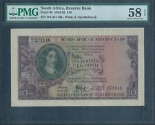 South Africa £10 P98 18.12.52 PMG 58 EPQ Choice About Uncirculated