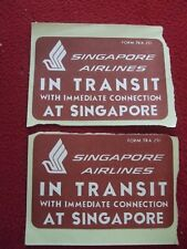 AIRLINE BAGGAGE STICKERS X 2 SINGAPORE AIRLINES 1980'S / 90'S VINTAGE