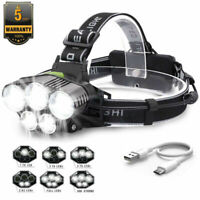 50000LM LED Headlamp 5 Head XM-L T6 18650 Headlight Flashlight USB Torch Light