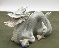 """Vintage Art Pottery- Oriental Painted Dragon Figurine- 8"""" x 3"""" Made in Japan"""