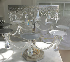Large Shabby Crystal Silver Chic Cupcake Candelabra Table Display Cake Stand