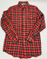 Vintage 60s Woolrich Mens Small Cotton Flannel Button Down Shirt Plaid Red