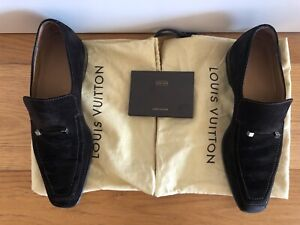 Pre-owned Mens Louis Vuitton Chocolate Brown Suede Loafers