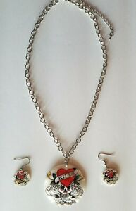 Ed Hardy Mother of Pearls Love Kills Slowly Necklace and earring set Lead Free