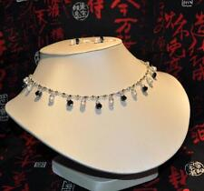 Freshwater Pearl necklace earring Black Swarvoski elements Bridal Wedding