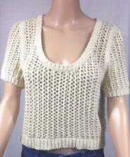 Free People Womens Crop Sweater Sz Medium Short Sleeve Beige Cable Summer Top Bo