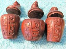 Egyptian Canopic Jar, Set of 3: Human, Jackal, Falcon, Hieroglyphics on All