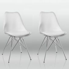 2er Set Esszimmerstuhl Weiß Stuhl Vintage Design Retro Kunststoff Metall