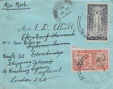 D 498 NZ May 1946 airmail cover to UK; 1/6d rate; 2 stamps...