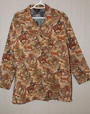 CAROLE LITTLE 3/4 Length Cowboy Print Tapestry Coat Sz L