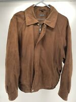 MENS CLAIBORNE Large ZIP UP SUEDE FINISH / BROWN LEATHER JACKET