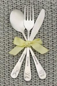 Children's PERSONALISED Animal Cutlery Set Christening Birthday Gift Kids Baby