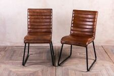 VINTAGE INSPIRED TAN LEATHER KITCHEN DINING CHAIR