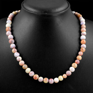 245.00 Cts Natural Round Shape Pink Australian Opal Beads Necklace NK 31E87