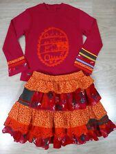 Catimini Girls Orange 2 Piece Set Skirt and Top + 2 x Socks Size 4 Age 3-4 Years