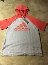 Adidas Womens Atheltics Fashion Short Sleeve Hoodie NWT Grey / Reddish Medium
