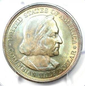 1892 Columbian Half Dollar 50C Coin. PCGS MS66+ Plus Grade Rainbow - $1350 Value