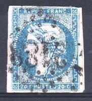 """FRANCE STAMP TIMBRE 44 B """" BORDEAUX 20c BLEU TYPE I REP 2 """" OBLITERE A VOIR P204"""