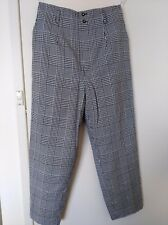 GALA Check Black White Wool Lined Pant Waist Loop side & back Pocket Size L
