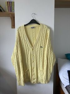 Vintage Lacoste Cable Knit Cardigan Yellow Size L