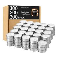 Tea Lights Candles Bulk 100/200/300 Pack White Unscented 4/6/8 Hours Burn Time