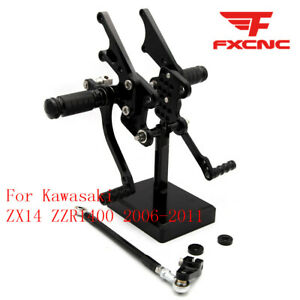 For Kawasaki ZX14 ZZR1400 2006-2011 Rearset Footrest Footpegs Brake Lever Pedals
